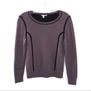 Halogen Gray & Black Polka Dot Scoop Neck Sweater